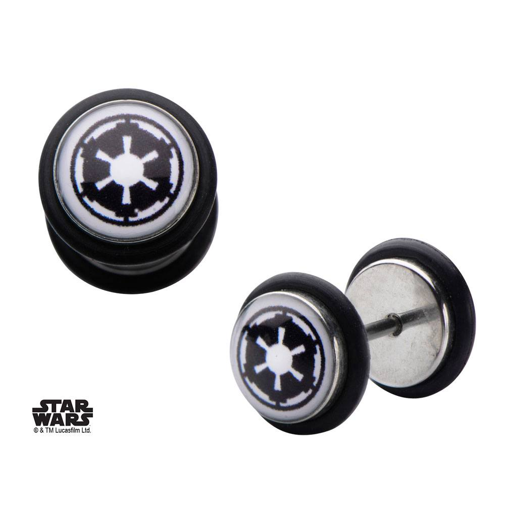 Star Wars Screw Back Earrings Galactic Empire Symbol Graphic Front