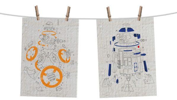 Star Wars Episode VIII Tea Towel 2-Set Droids Exploded View