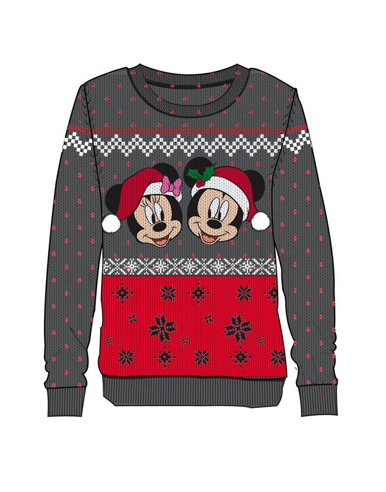 Disney Ladies Knitted Christmas Sweater Mickey & Minnie Size S