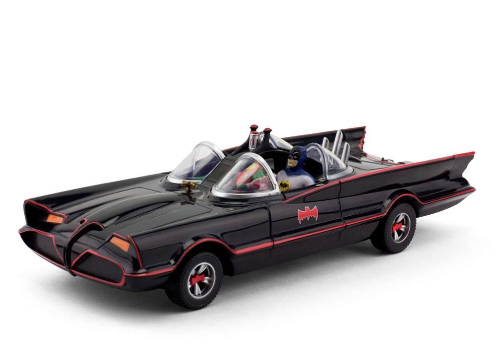 Batman 1966 Batmobile with Batman and Robin Bendable Figures