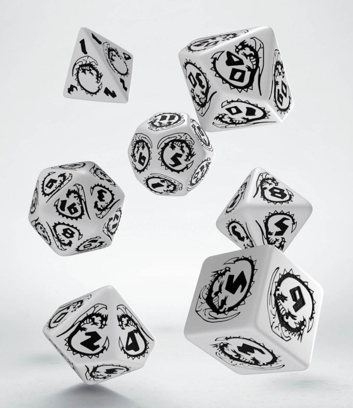 Dragons Dice Set white & black (7)