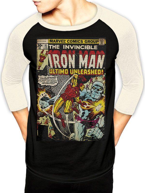 Marvel Comics Baseball Long Sleeve Shirt Iron Man Comic Size XL