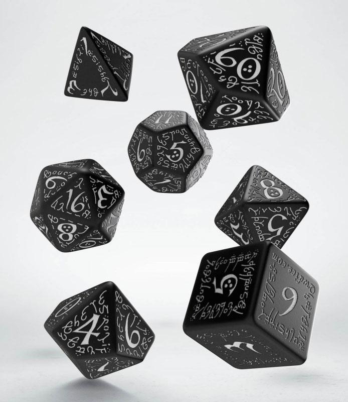 Elvish Dice Set black & weiß (7)