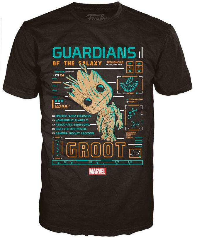 Guardians of the Galaxy POP! Tees T-Shirt Groot Line-Up Size S