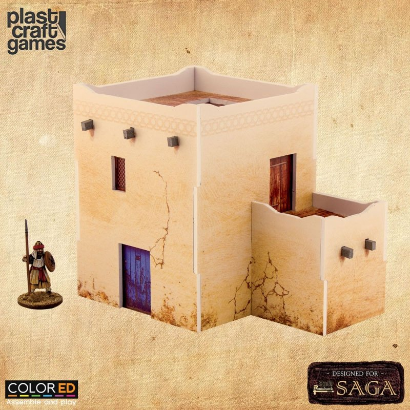 SAGA ColorED Miniature Gaming Model Kit 28 mm Two-Story Desert Dwelling