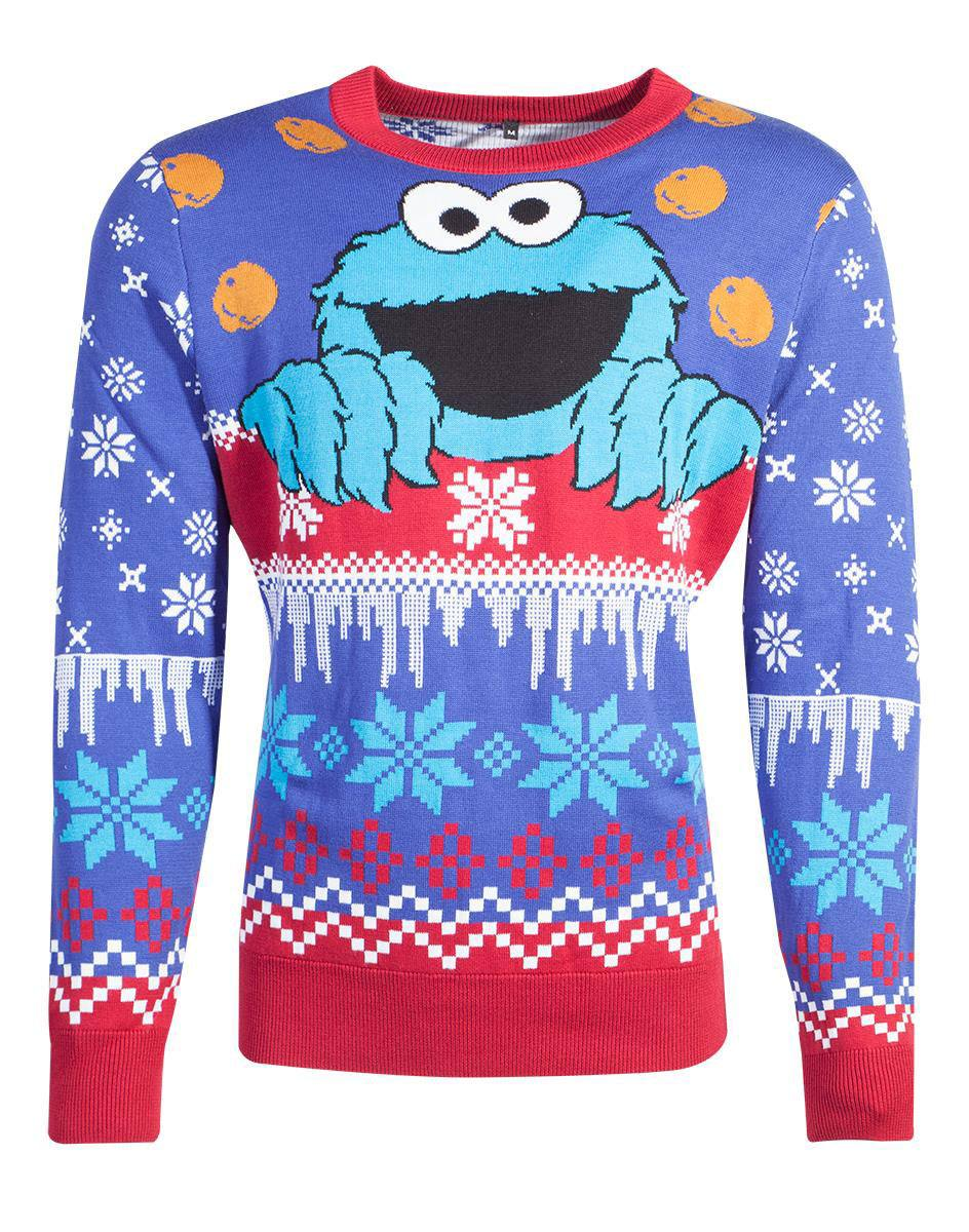 Sesame Street Knitted Christmas Sweater Cookie Monster Size L