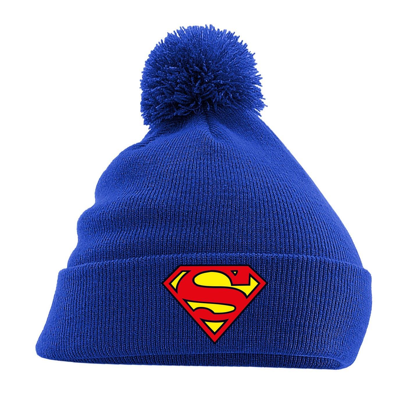 Superman Pom Pom Beanie Logo blue