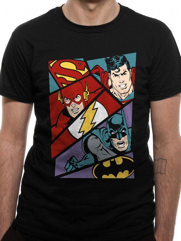 Justice League T-Shirt Heroes Pop Art Size XL