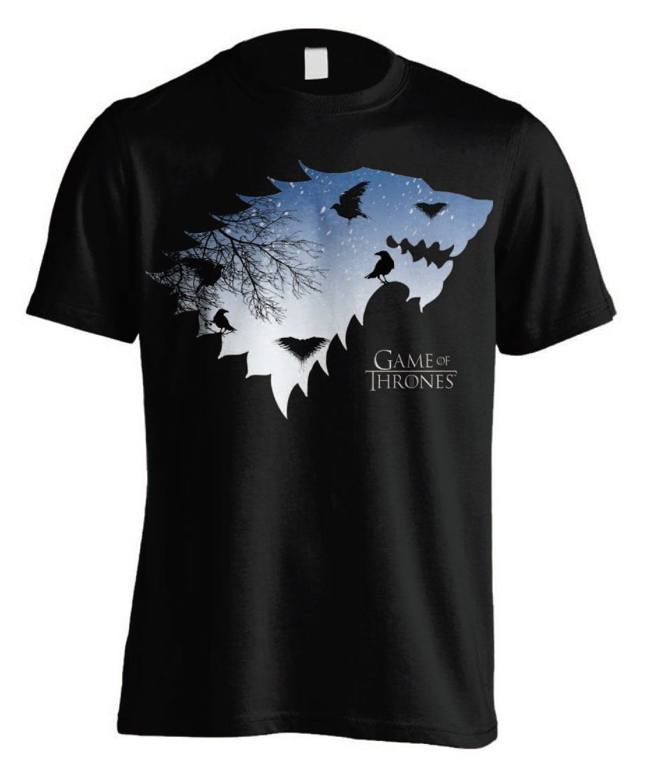 Game of Thrones T-Shirt Stark & Crows  Size L