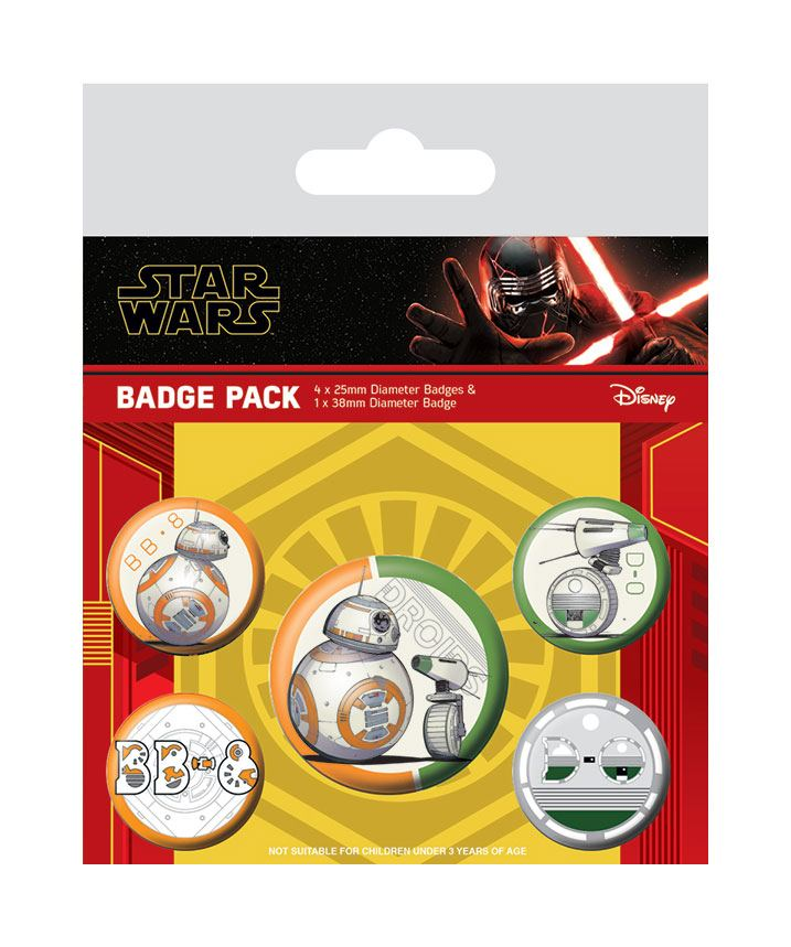 Star Wars Episode IX Pin-Back Buttons 5-Pack Droids