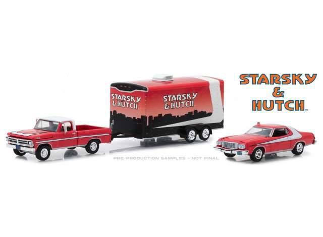Starsky & Hutch Diecast Model 1/64 1972 Ford F-100 & Gran Torino & Hauler