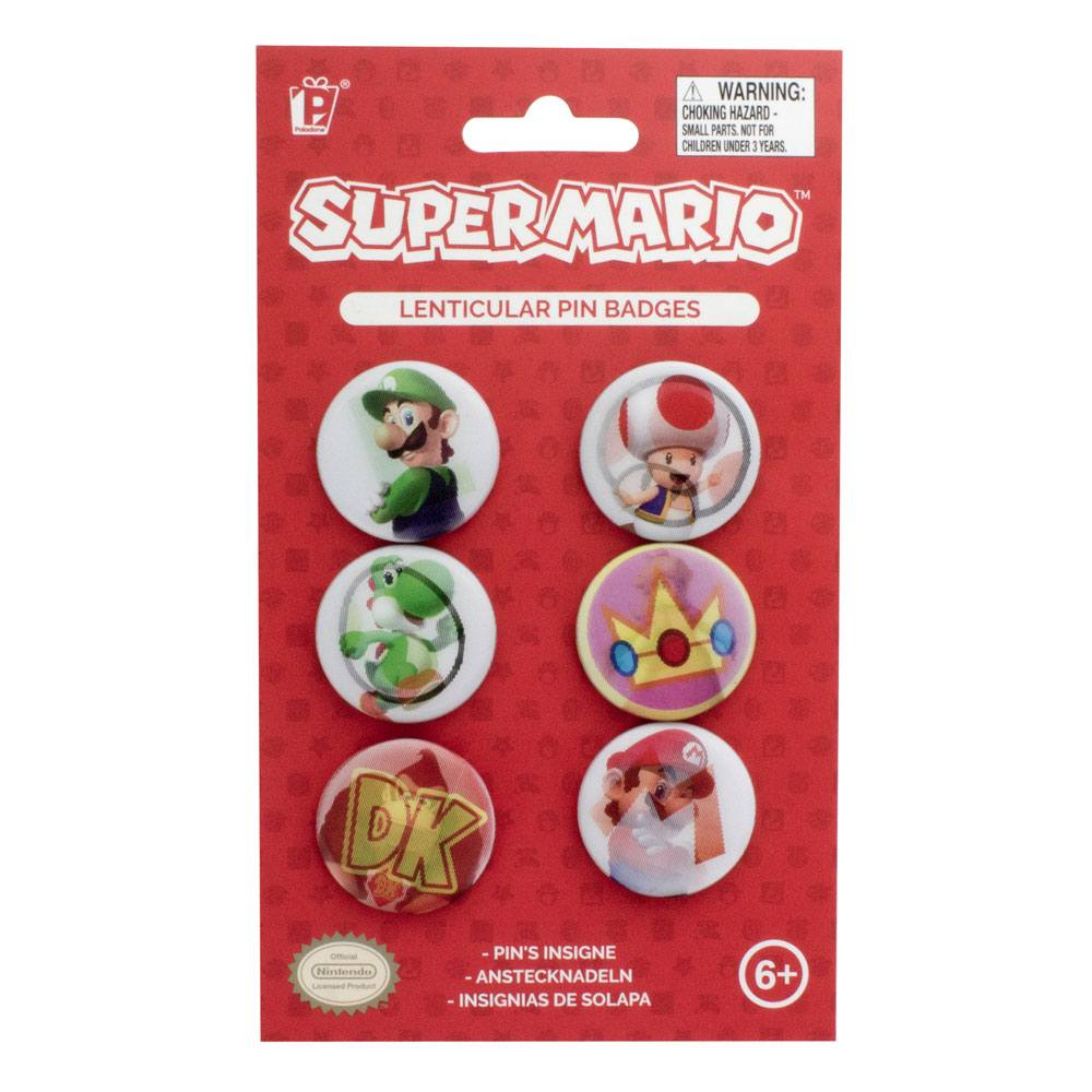 Super Mario Lenticular Pin Badges 6-Pack