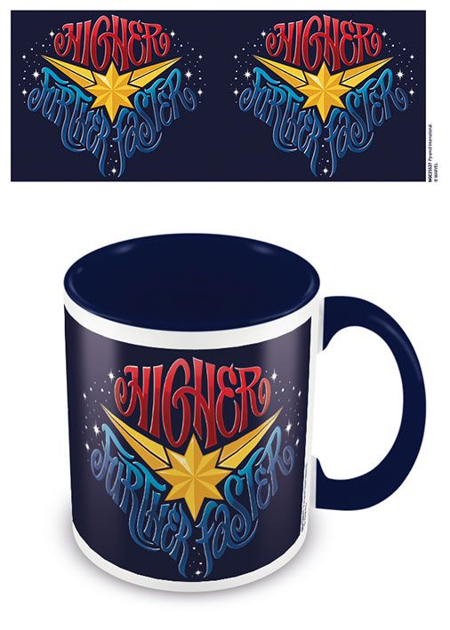 Captain Marvel Coloured Inner Mug Higher Further Faster