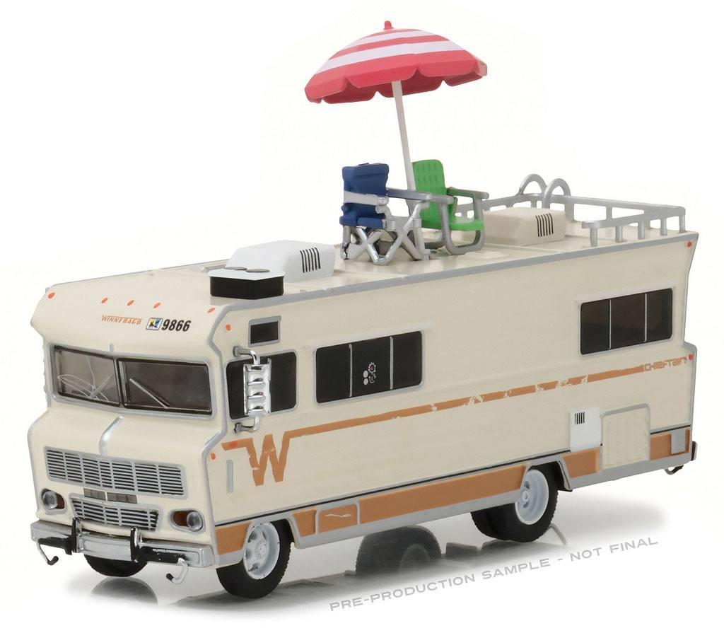 Walking Dead Diecast Model 1/64 Dale's 1973 Winnebago Chieftain with Umbrella