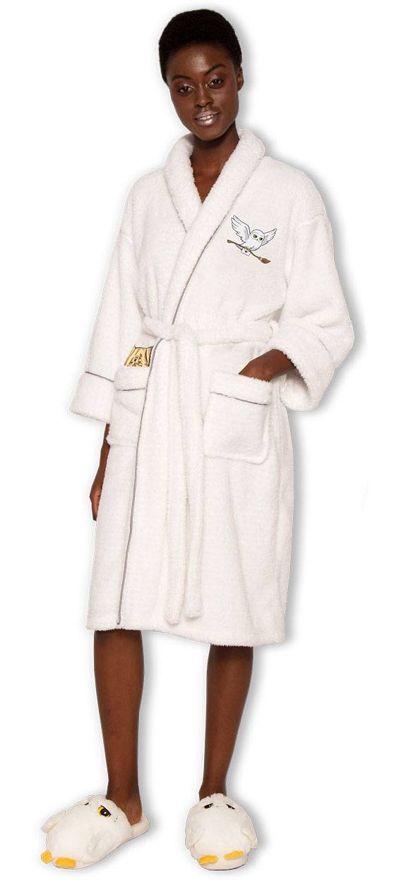 Harry Potter Ladies Fleece Bathrobe Hedwig