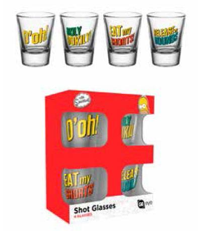 Simpsons Shotglass 4-Pack Quotes