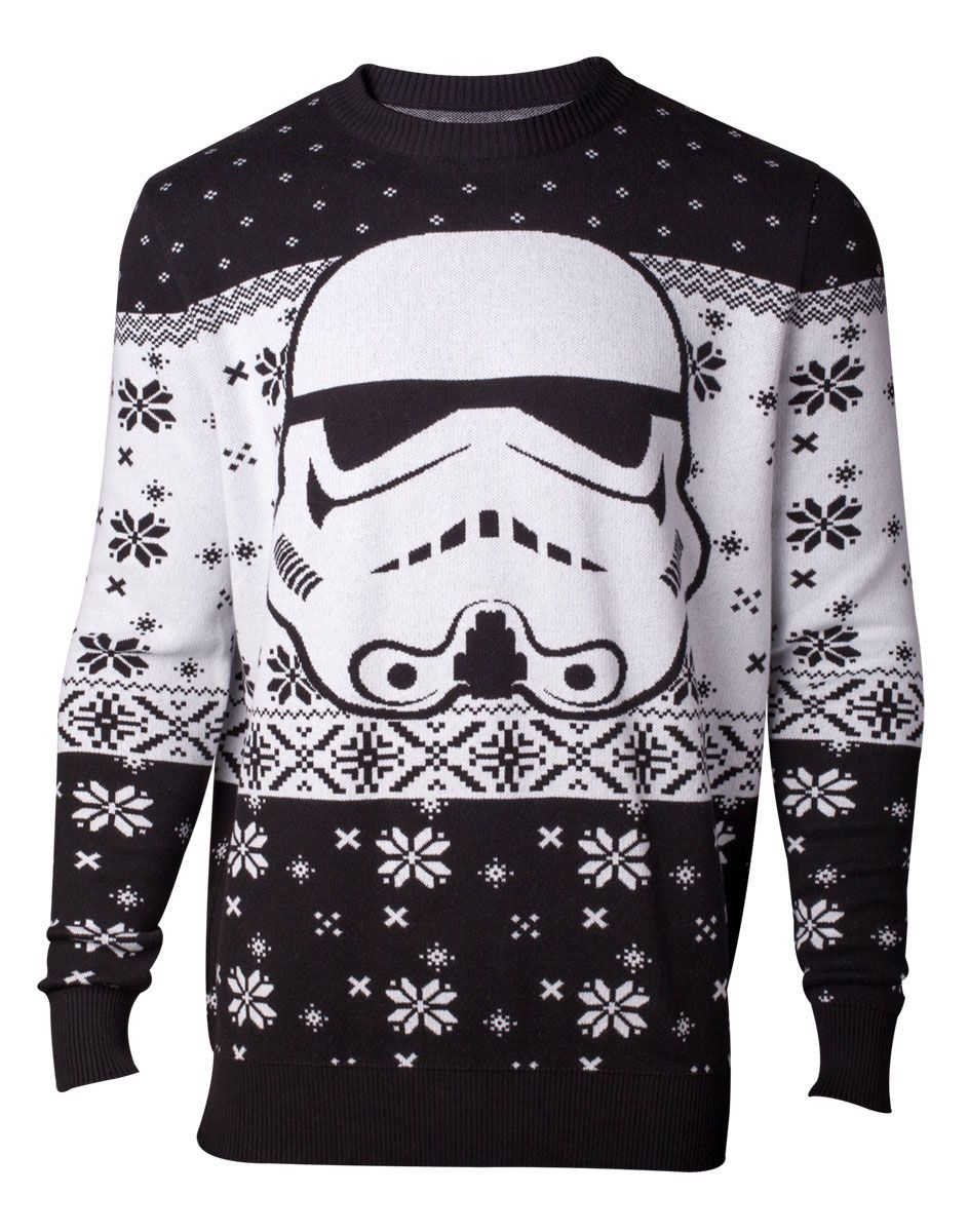 Star Wars Knitted Christmas Sweater Stormtrooper Size L