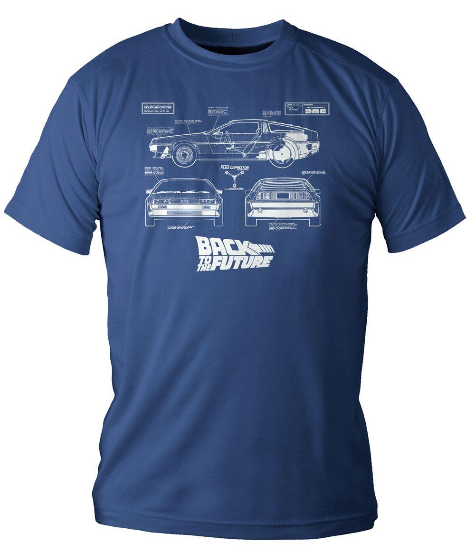 Back to the Future T-Shirt DeLorean Blueprint Size XL