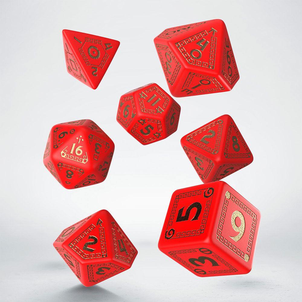 RuneQuest Dice Set red & gold (7)