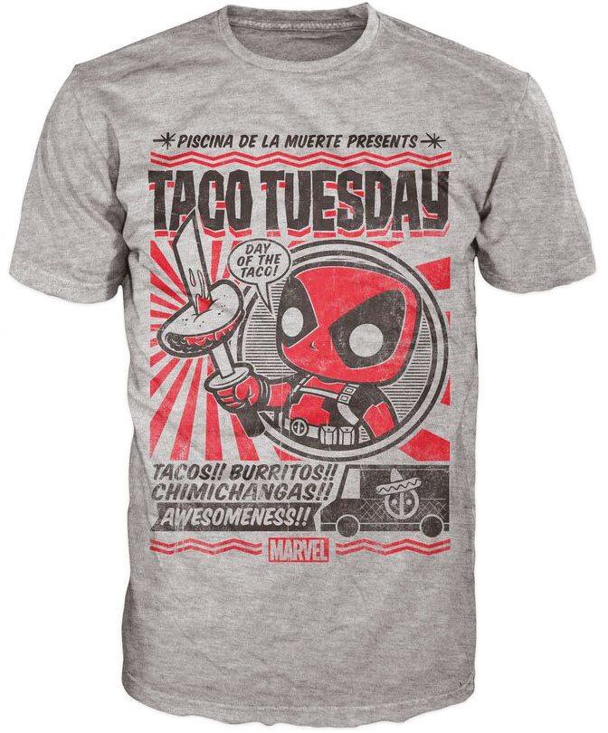 Marvel Comics POP! Tees T-Shirt Deadpool Taco Tuesday Size M