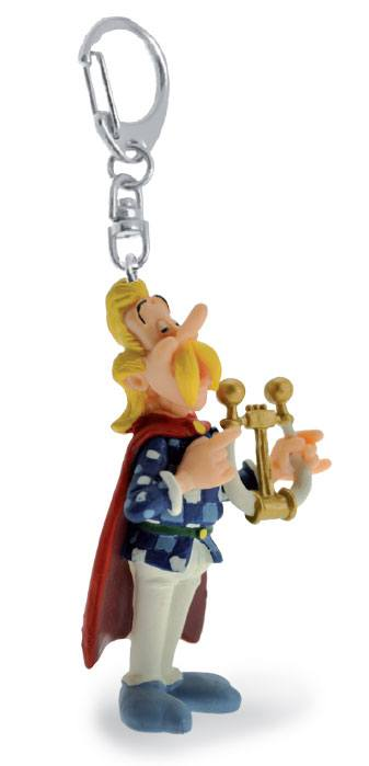 Asterix Keychain Cacofonix playing his lyre 10 cm