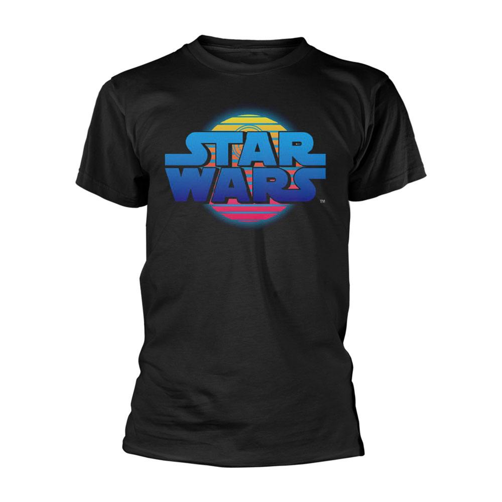 Star Wars T-Shirt Logo Neon Death Star Size XL