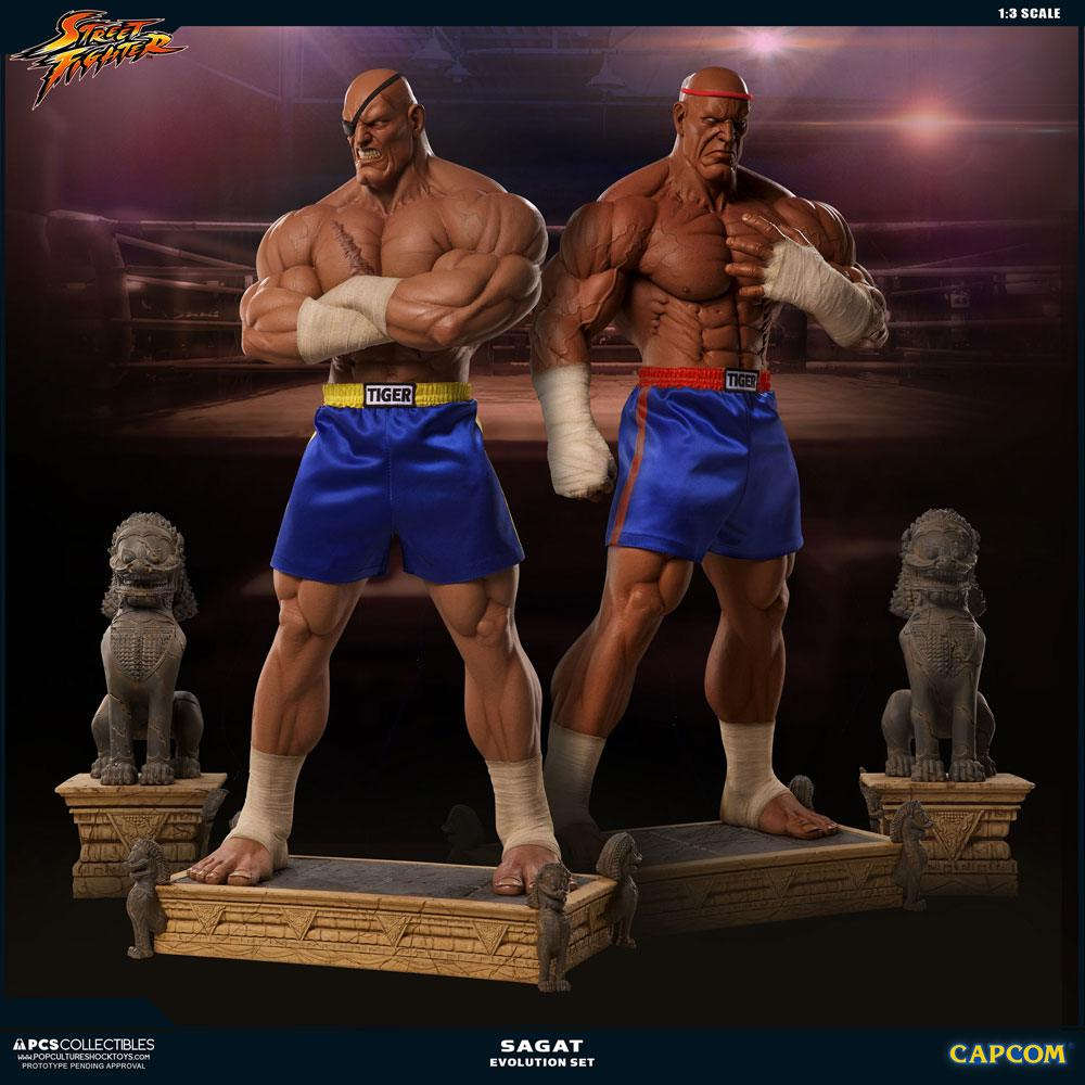 Street Fighter Statues 1/3 Sagat PCS Exclusive Evolution Set 93 cm