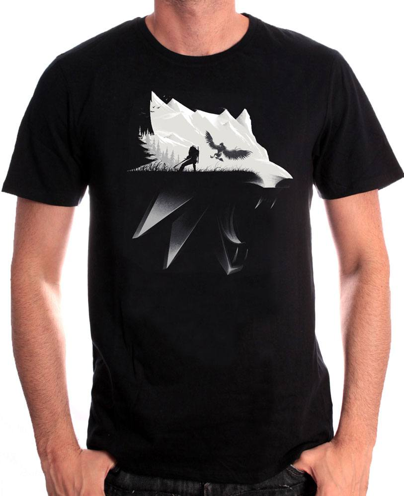 Witcher T-Shirt Wolf Silhouette Size M